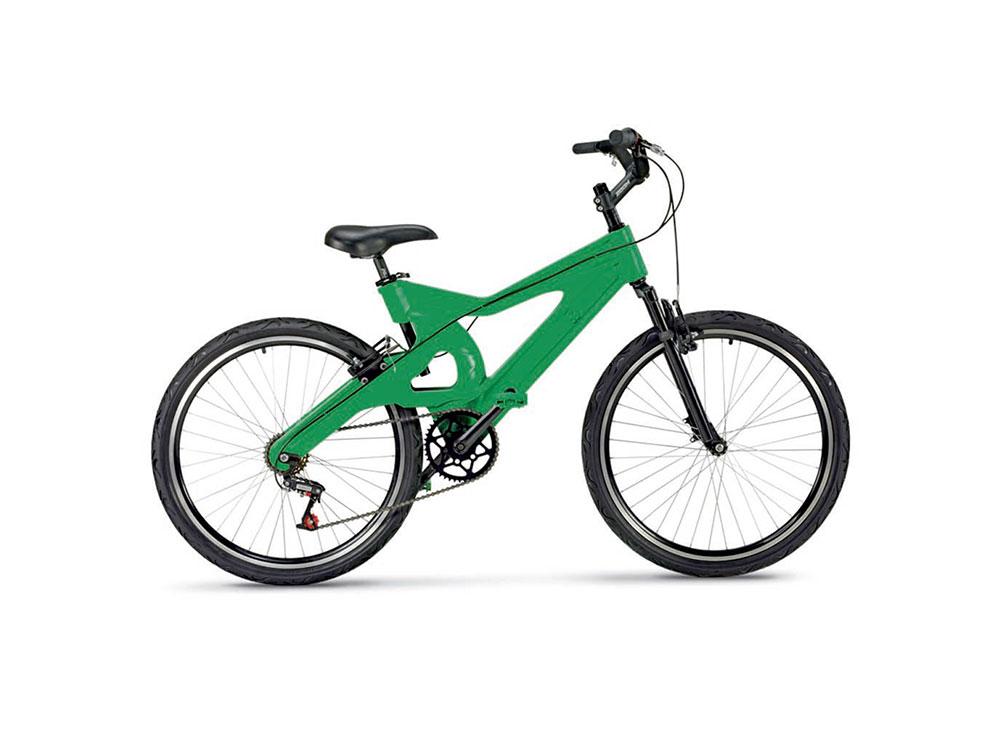 Inovação e sustentabilidade – bicicleta feita de plástico reciclado